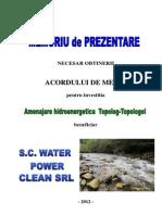 81627 MEMORIU de PREZENTARE Hidrocentrale Topolog-Topologel Final