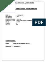 Assignment BBA(Sem1) Organisational Behaviour.doc
