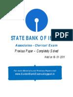 SBI ASSOCIATES Clerical Exam Previous Paper