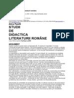 Alina Pamfil Studii de Didactica Literaturii Romane