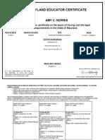 a  norris certificate 12-17