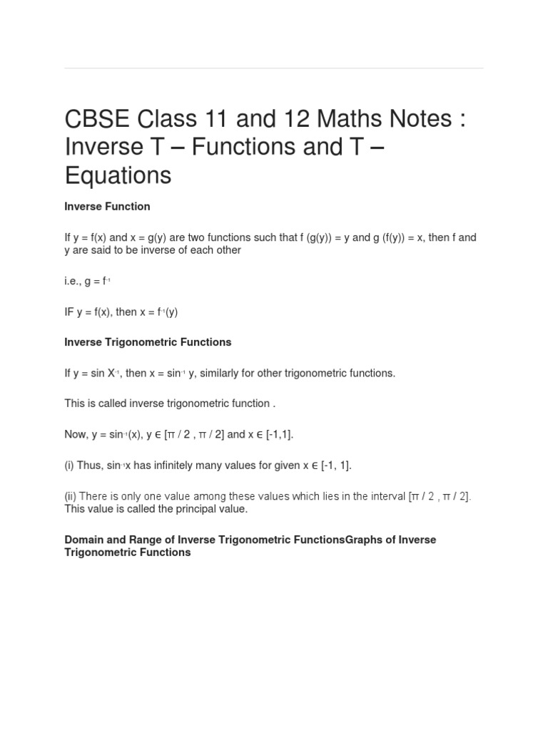 CBSE Class 11 and 12 Maths Notes _ Inverse T - Functions and