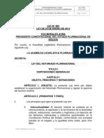 LEY 0483 - Del Notariado Del EStado Plurinacional de Bolivia