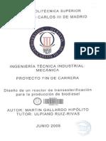 Diseño Reactor Transesterificacion