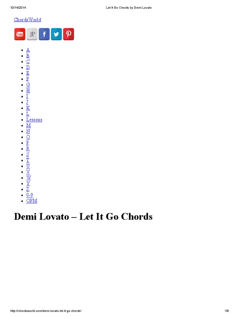 Let it go chords by demi lovato song structure recorded music hexwebz Images