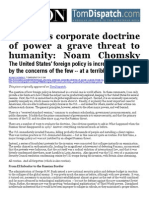 Americas Corporate Doctrine of Power a Grave Threat to Humanity - Noam Chomsky July 1 2014 - Salon TomDispatch.com-libre