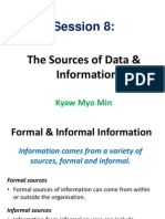 Session 8 the Sources of Data & Information