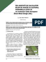 PROIECTAREA ASISTATĂ DE CALCULATOR A STRUCTURILOR DE AVIAŢIE CU AJUTORUL PROGRAMULUI CATIA V5