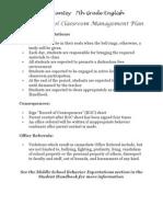 7th Grade English - Classroom Management Plan
