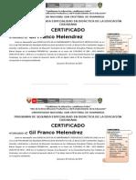 Franco Melendrez, Gil Certificado 02