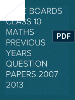 CBSE Boards Class 10 Maths Previous Years Question Papers 2007 2013