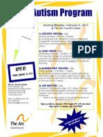 Autism Registration Flyer Spring 2015