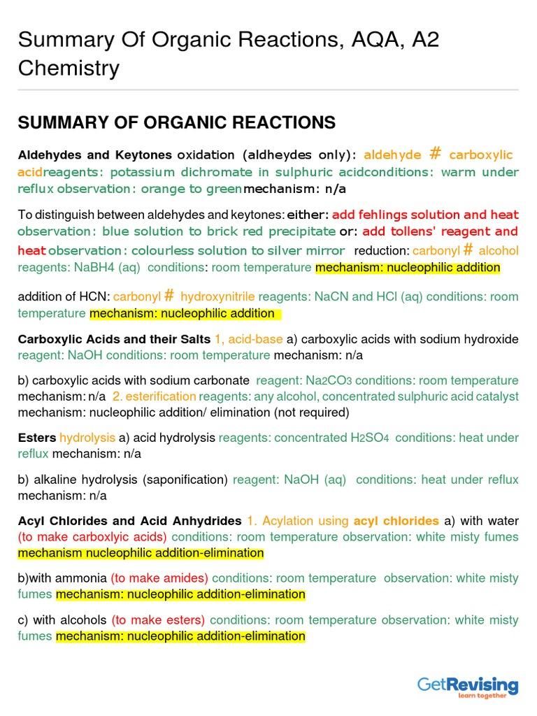 Summary of Organic Reactions A | Amine | Aldehyde | Бесплатная 30 ...