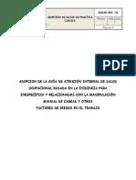 Adopcion de La Guía de Inespecífico y Relacionados Con La Manipulación Manual de Cargas y Otros
