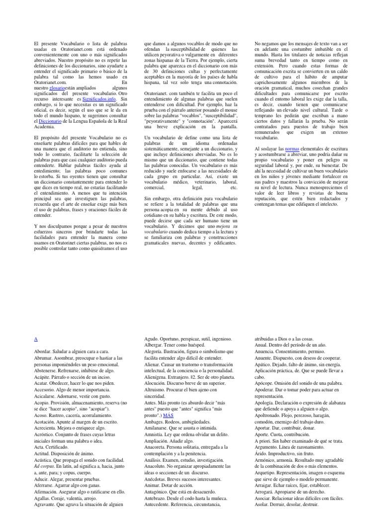 El Presente Vocabulario o Lista de Palabras Usadas en Oratorianet