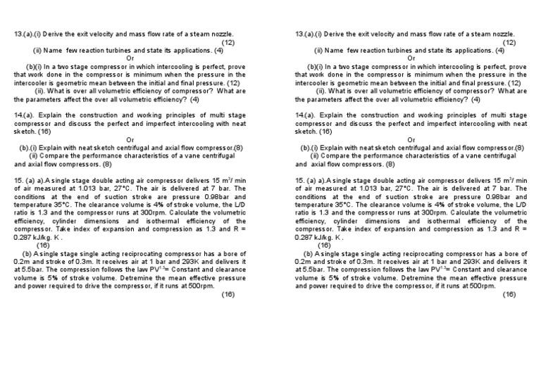 4 Internal Exam -II ( Unit III & IV) P-2 | Gas Compressor (7