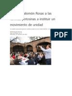 7/01/2015 Exhorta Salomón Rosas a las familias potosinas a instituir un movimiento de unidad