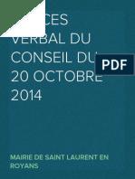 Proces verbal du Conseil du 20 octobre 2014