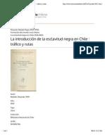 La Introducción de La Esclavitud Negra en Chile