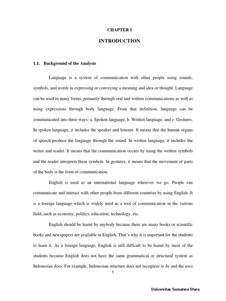 Contoh Chapter 1 Skripsi Bahasa Inggris | Verb | English ...