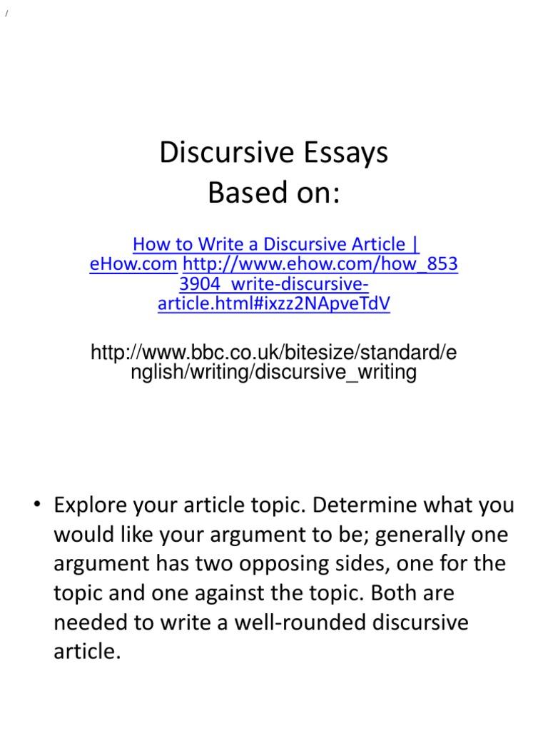 Discursive Essays   Essays  Argument