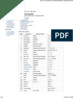 Mathematical Symbols Glossary.