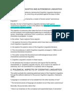 Cognitive Linguistic vs Autonomous One