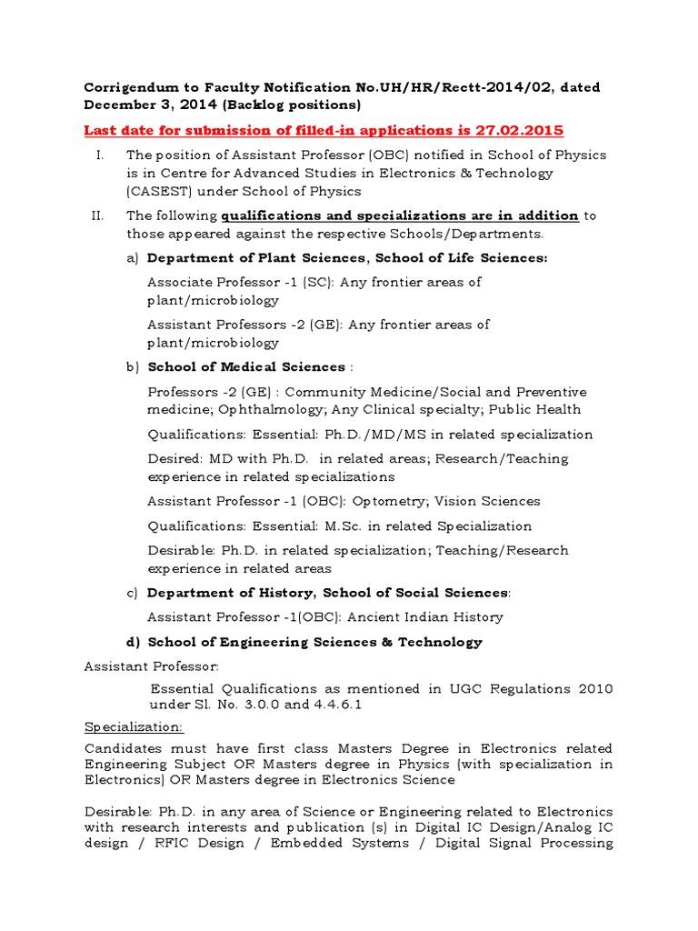 Faculty Notification Corigendum 020115 | Materials Science