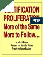 CERTIFICATION PROLIFERATION