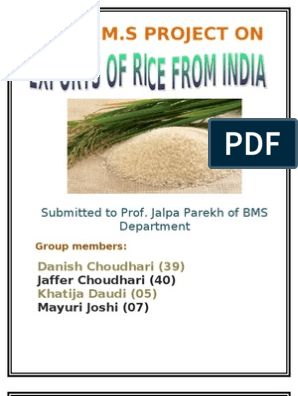 Rice Export Project | Rice | Agriculture