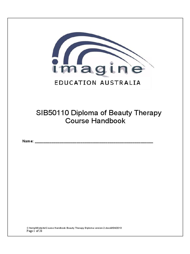 Course Handbook Beauty Therapy Diploma Version 2 Vocational Education Educational Assessment
