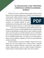 Rezumat Teza Doctorat Trasaturile Caracteristice Ale Contractului Individual de Munca
