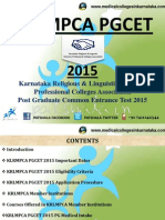 KLRMPCA PGCET 2015 PG Medical Entrance Exam Details