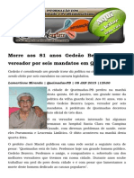 Morre Aos 81 Anos Gedeão Bezerra Lopes Vereador Por Seis Mandatos Em Queimadas