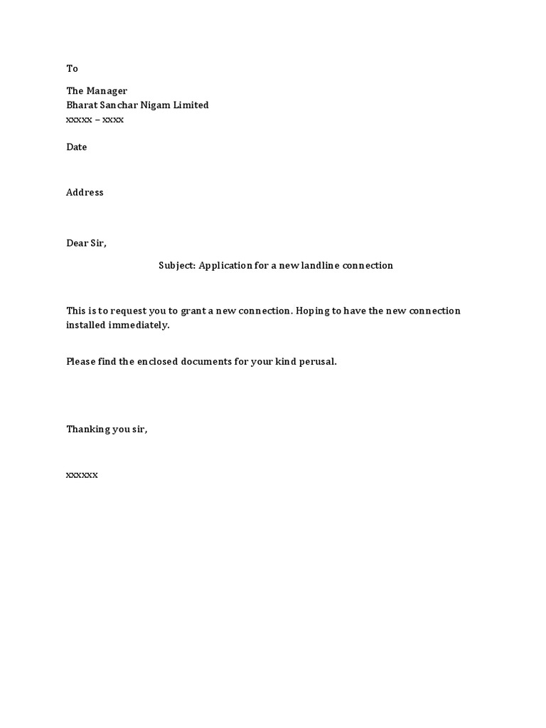 New Phone Connection Request Letter