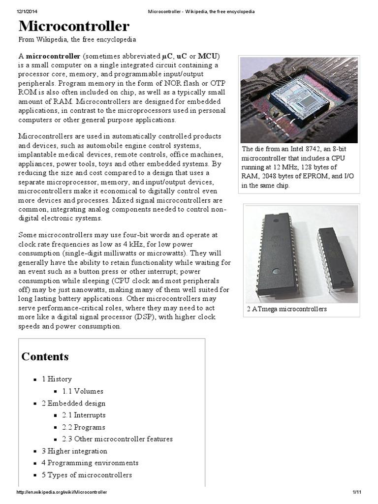 microcontroller wikipedia, the free encyclopedia microcontrollermicrocontroller wikipedia, the free encyclopedia microcontroller embedded system