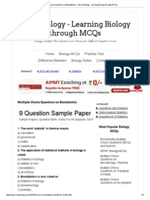 Multiple Choice Questions on Biostatistics ~ MCQ Biology - Learning