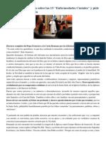 Francisco- Palabras Por Navidad a Curia Romana 22-12-14 Un Profundo Examen de Conciencia y Confesión en Preparación de La Navidad
