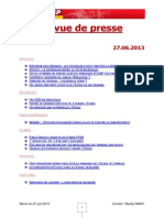 FGTB Revue de Presse 27.06.2013
