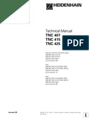Technicak Manual TNC407 TNC415 TNC425   Programmable Logic