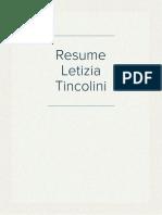 Resume Letizia Tincolini