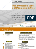 Friction Stir and Ultrasonic Solid State Joining of Magnesium to Steel