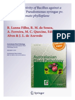 Biocontrol activity of Bacillus against a GFP-marked Pseudomonas syringae pv. tomato on tomato phylloplane