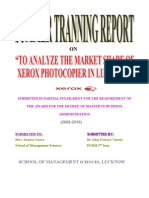 "Project report on ""Xerox"" To analyze the market share of Xerox photocopier machine in lucknow."