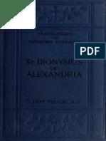 Feltoe. St. Dionysius of Alexandria