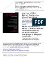 Leonard Lawlor - What Immanence? What Transcendence? The Prioritization of Intuition Over Language in Bergson