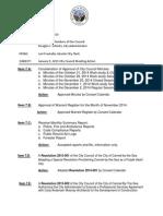 City Council January 5, 2015 City Council Meeting Action Memo