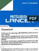 Mitsubishi Lancer Owners Handbook