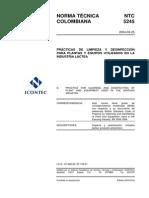 Ntc5245 Limpieza y Desinfeccion en Plantas de Derivados Lacteos