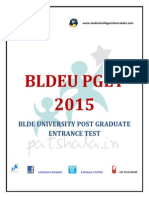 BLDEU PGET 2015 PG Medical Entrance Exam Details
